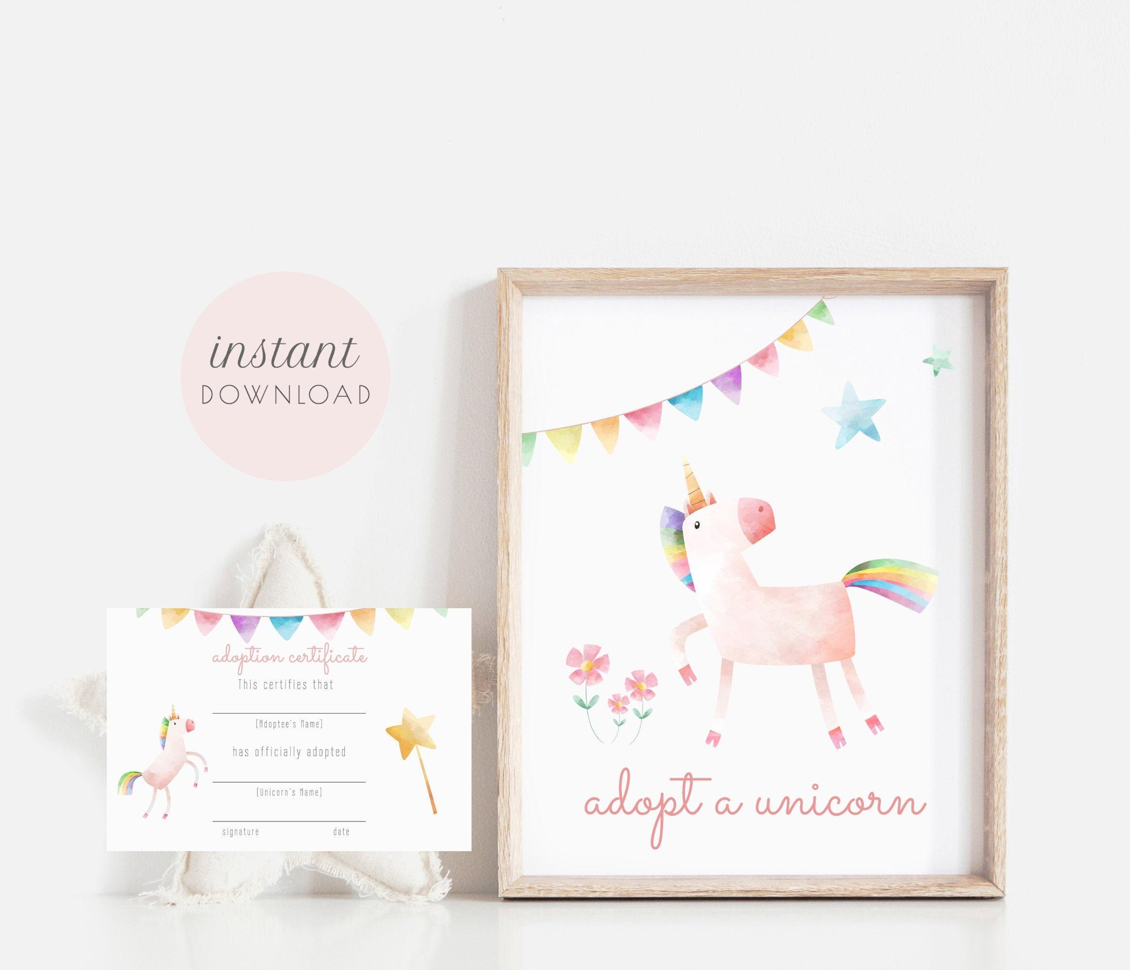 Adopt A Unicorn Printable Set Adoption Certificate Adoption Etsy