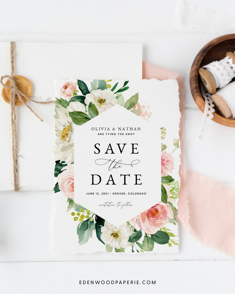 Blush Rose Wedding Save the Date Card Floral Save the Date image 0