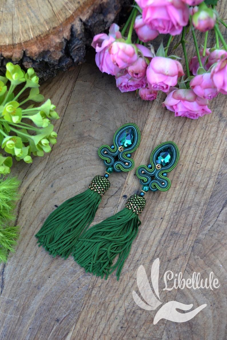 MAYA original tassel sotache earrings with green tassel boho style stud  clip on closre fast shipping bottle green earrings