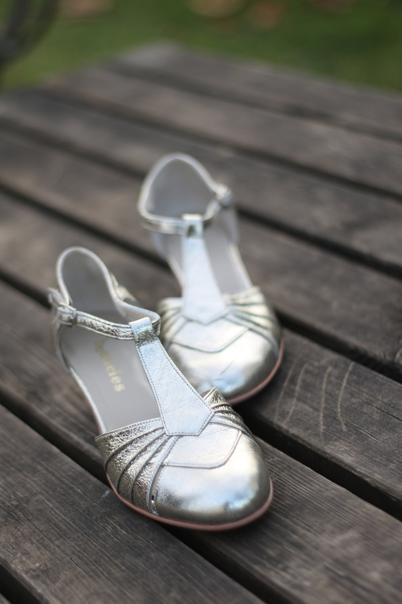 1930s Shoes – Art Deco Shoes, Heels, Boots, Sandals Hand-crafted leather swing shoes - Josephine Dance France Silver $172.00 AT vintagedancer.com