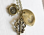 MultiCharm Clock and Key long chain Necklace