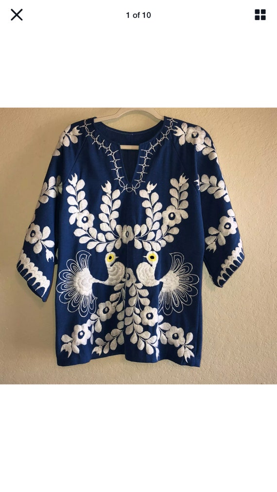 Womens Vintage 70's Handmade Blue White Embroidere
