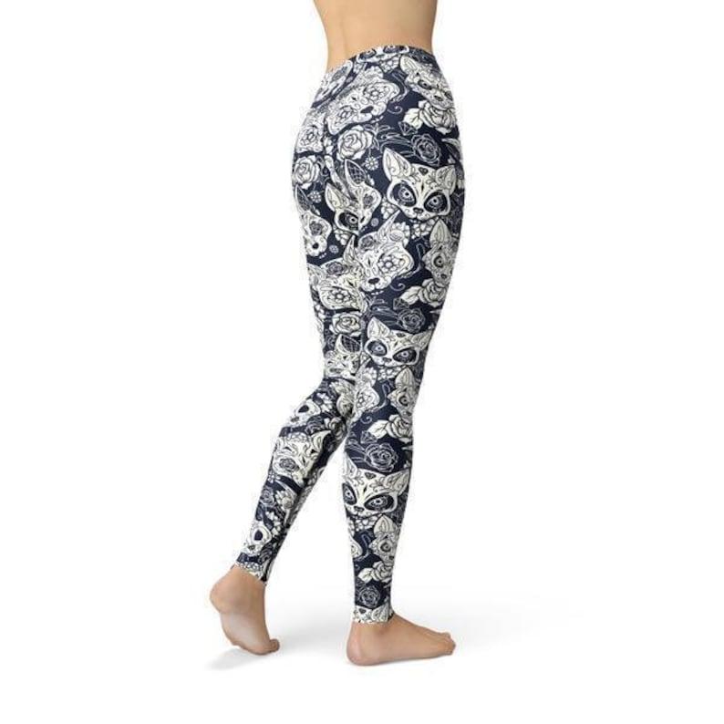 Fitness Leggings Leggings for Women Beverly Cat Sugar Skulls Leggings Workout Leggings
