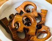 Teak Wood Elephant Rings Mid Century Modern-Set of 6