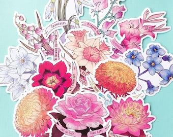 Birth Month Flower Stickers
