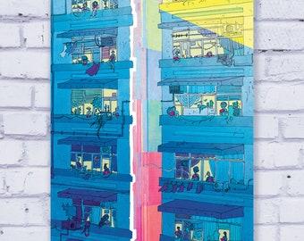Blue Apartment Complex - Original 8.5 x 11 Art Print