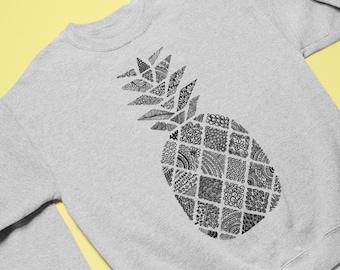 CY SHOP Hawaiian Pineapple Aloha Mens Boys Crewneck Unisex Pullover Sweatshirt Crew Neck Hoodie