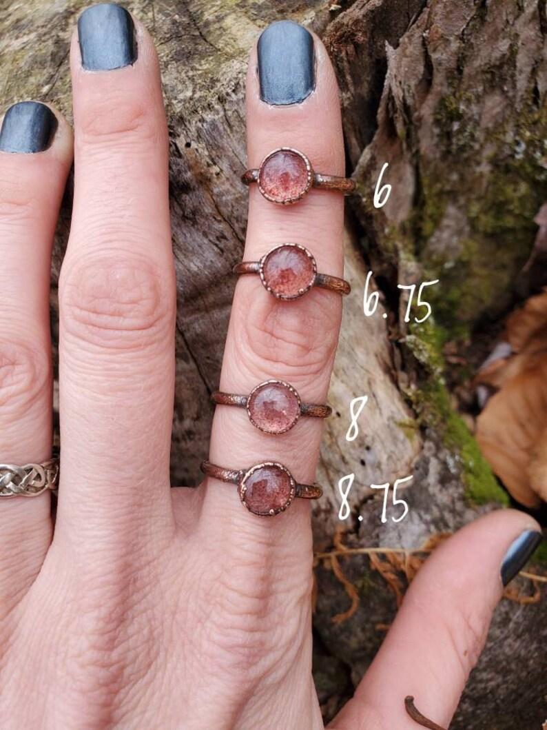 Strawberry Quartz Electroformed Ring Size 6