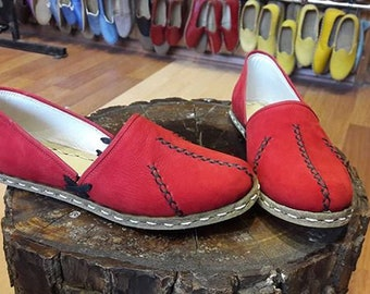 Ottoman Sandals Loafers Medieval Sandals Leather Flat Shoes Handmade Turkish Yemeni Slip-Ons
