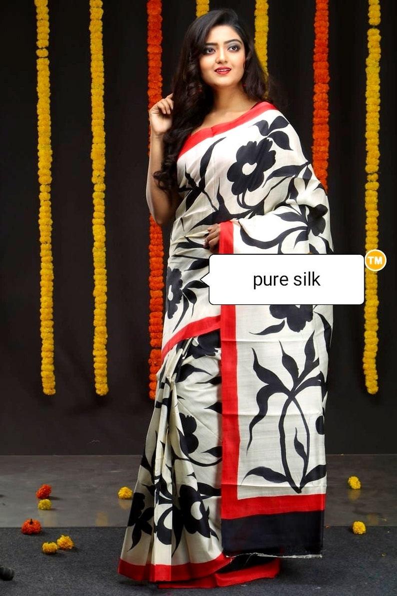 Handmade /& Handpainted Pure Silk Bengal Handwoven Silk Saree Handpaint by Artisan Free Shipping with SilkMarkIndia Assurance