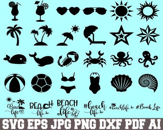 Beach Svg Cut File Beach Bundle Svg Beach Silhouette Etsy