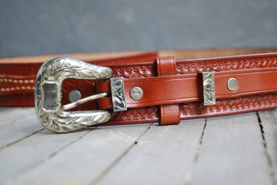 Vintage genuine leather brown belt  mens leather b