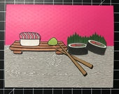 Sushi Greeting Card - Salmon version