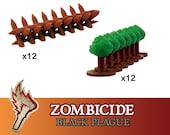 Zombicide Black Plague Green Horde 24x Hedges & Barricades Terrain Board Game