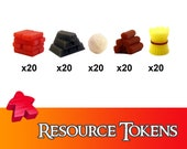100x Deluxe Tokens Resource Pack Wood Brick Iron Wheat Wool Board Game