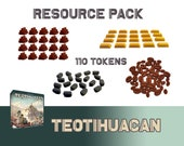 Teotihuacan 110x Deluxe Tokens Resource Pack Cocoa Stone Gold Wood Board Game