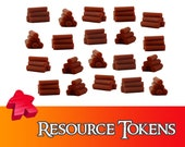 20/40x Deluxe Wood Lumber Resource Tokens Board Game