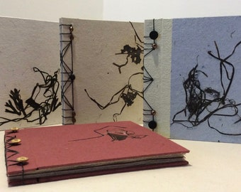 """Notebook japanese stapbinding 7"""" x 8"""" hand made rag paper and seaweed"""