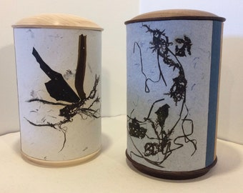 Funeral urn hand made rag paper and seaweed. Cover wood