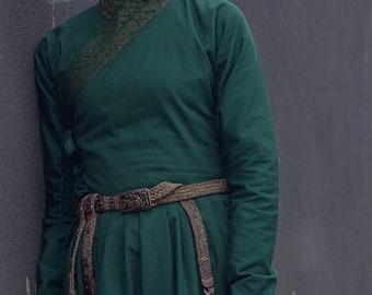 Mongolian 13 th Century Women's Green Deel