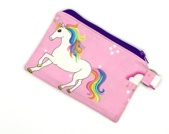 Ear Bud Pouch Unicorn Coin Purse Stocking Stuffer for Tween Girl Mini Wallet Small Zipper Pouch for Girls Unicorn Gift Card Holder