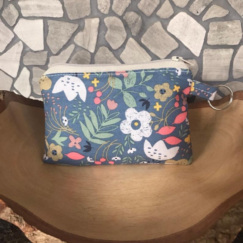 Floral gray blue zipper pouch coin purse credit card wallet