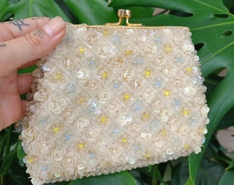 Vintage 1950s beaded Evening  Hand bad