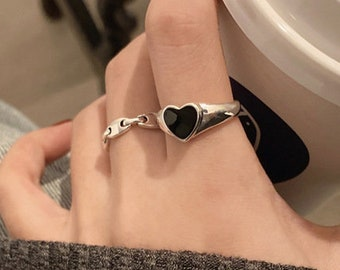 Glass ring fused glass ring designer ring Sterling Silver adjustable band Heart shaped glass cabouchon Valentines day ladies ring