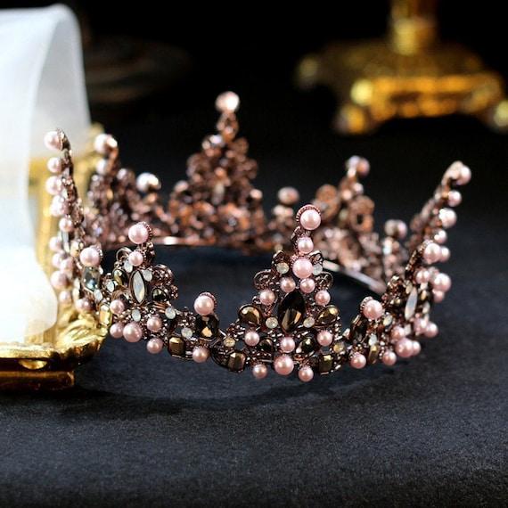 Black pearl crystal wedding crown Gothic wedding c