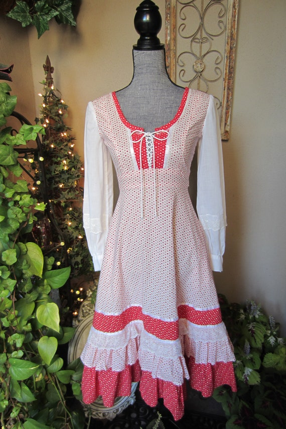 Gunne Sax Style Heart Print Homemade Dress