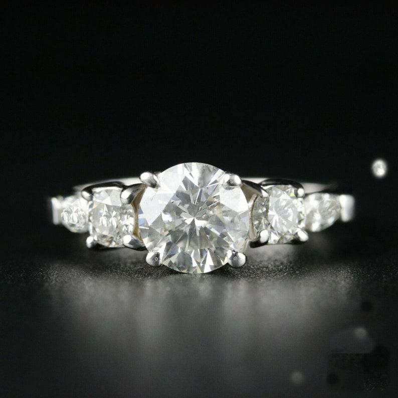 2 CT Round Wedding Ring 14KT White Gold Engagement Ring Moissanite Ring Diamond Ring Anniversary Ring Valentine Day Gift Classic Ring
