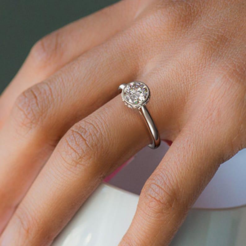 2 CT Round Engagement Ring Moissanite Diamond Ring 14KT White Gold Custom Ring Unique Wedding Ring Statement Ring Forever One Ring