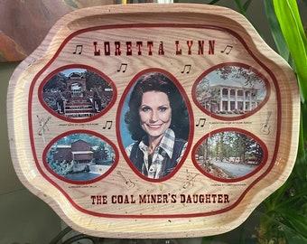 Vintage Loretta Lynn Metal Tray 1970s, The Coal Miners Daughter 1970s, Hurricane Creek Mills