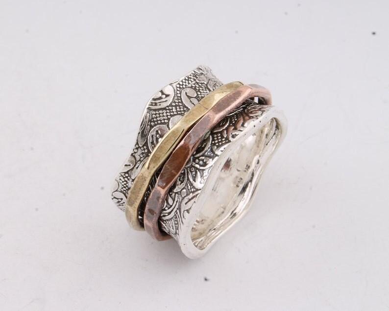 Big Size 925 Sterling Silver Ring Silver Spinner Ring-925 Sterling Silver thumb Ring-Silver Band Ring SPINNER RING - Meditation Ring
