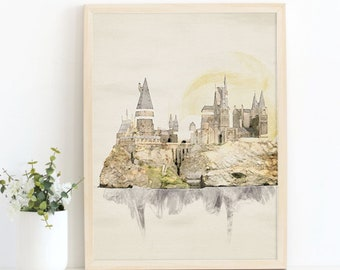 Castle Wizarding Inspired Poster Wall Art, INSTANT DOWNLOAD Printable Nursery Decor, Wizarding Decoration Print, Literature Poster Fan Art
