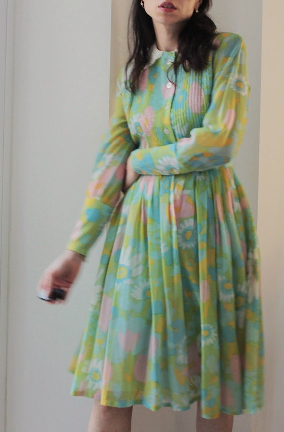 Vintage 60s floral Peter Pan collar cotton dress - image 7