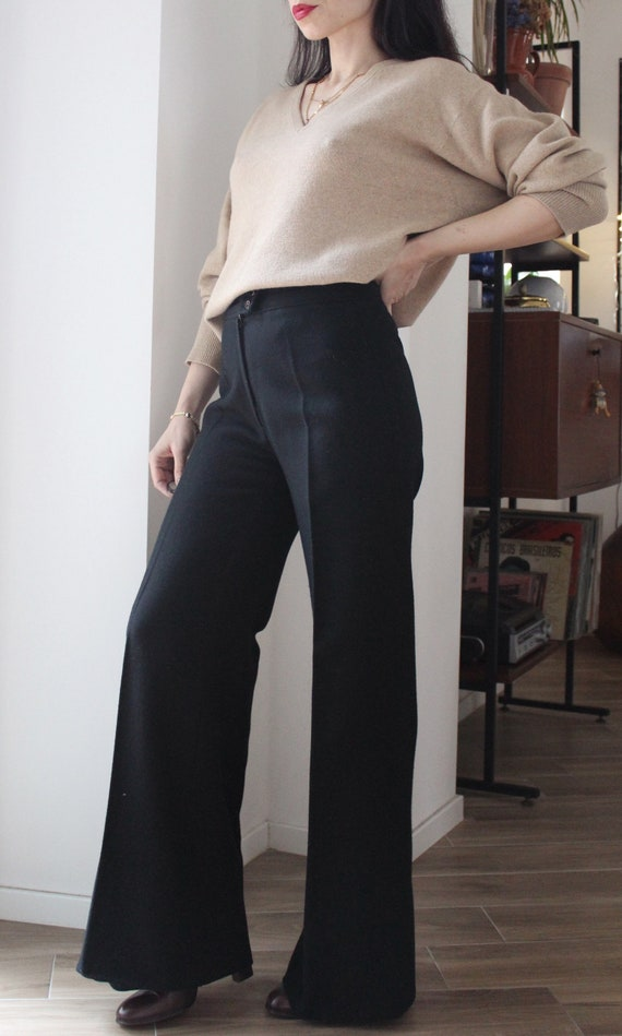 Vintage 70s Black wool high waisted palazzo flare… - image 10