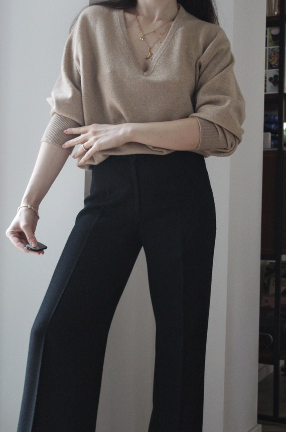 Vintage 70s Black wool high waisted palazzo flare… - image 2