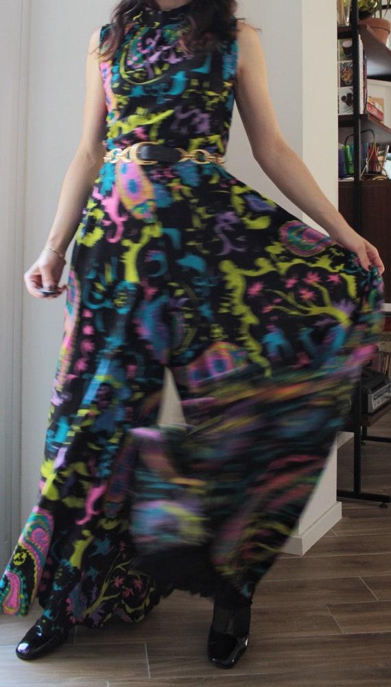 Vintage 70s wool novelty print maxi jumpsuit - image 6