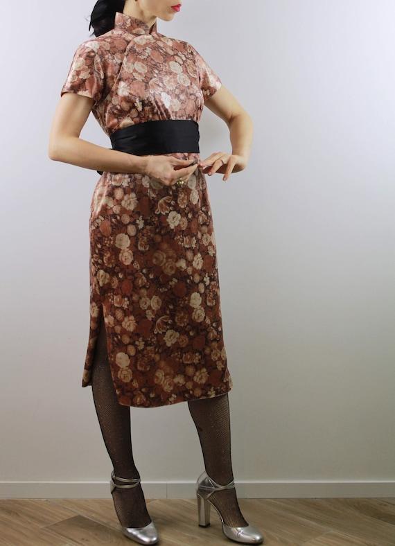 Vintage 60s velvet cheongsam