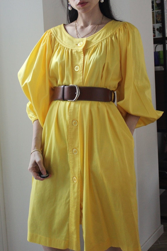 Vintage 80s puff sleeves cotton yellow dress