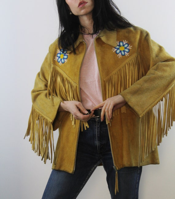 Amazing vintage 60s fringed beaded suede jacket