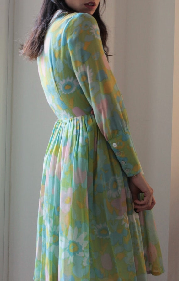 Vintage 60s floral Peter Pan collar cotton dress - image 5