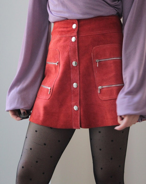 Vintage 70s leather suede red mini skirt