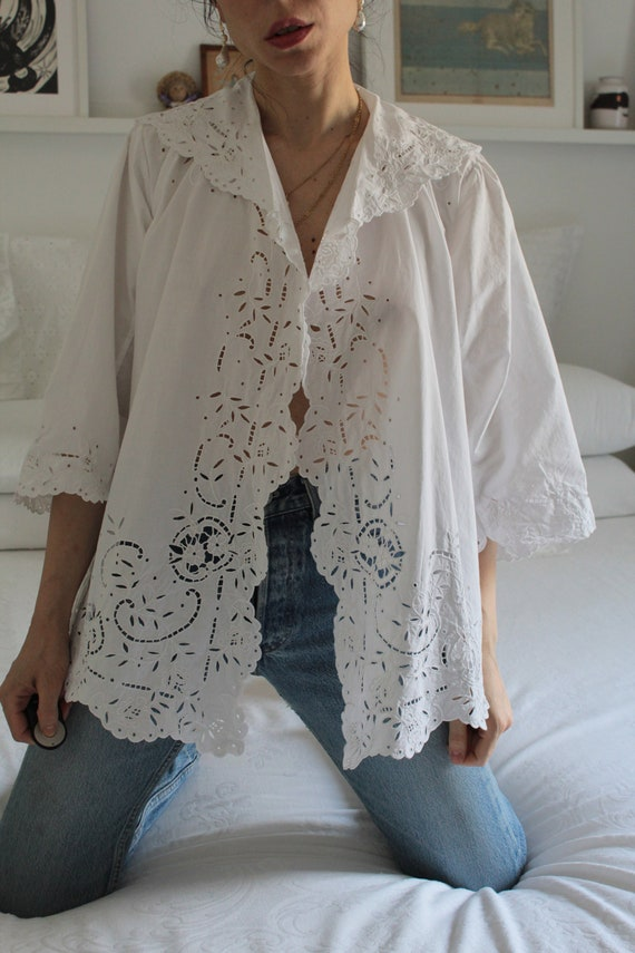 Antique 1900s white cotton hand embroidered jacket
