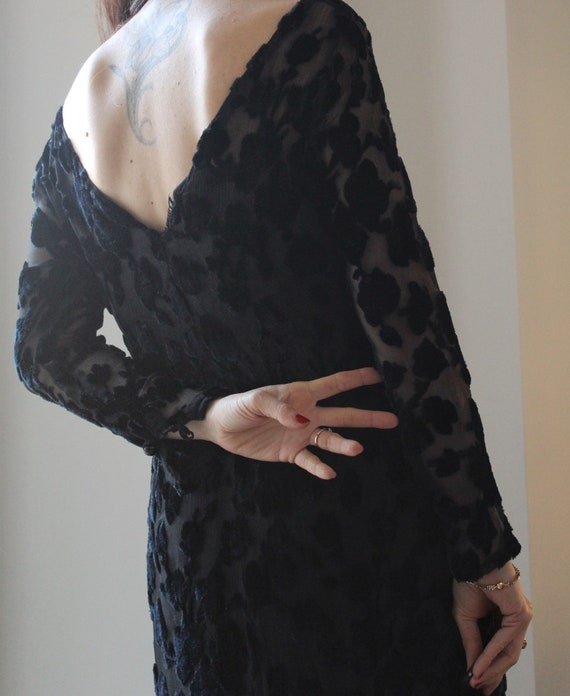 Vintage 70s silk and silk velvet dévoré black maxi