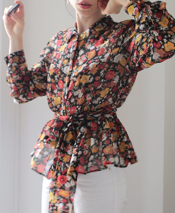 Vintage flowers silk chiffon blouse