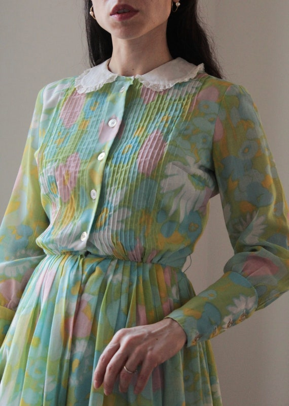 Vintage 60s floral Peter Pan collar cotton dress - image 6