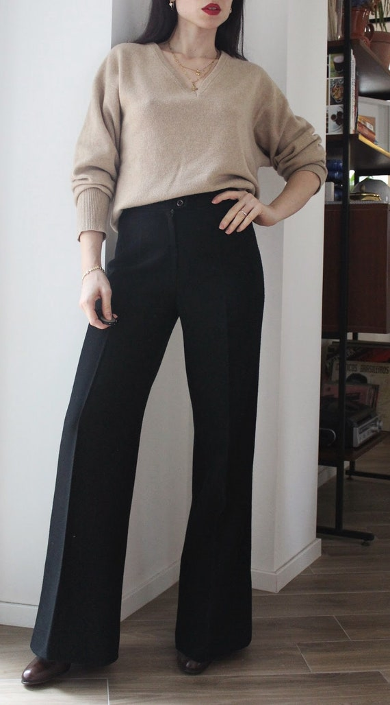 Vintage 70s Black wool high waisted palazzo flare… - image 1