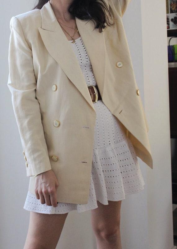 Vintage 90s  linen cream/beige  blazer